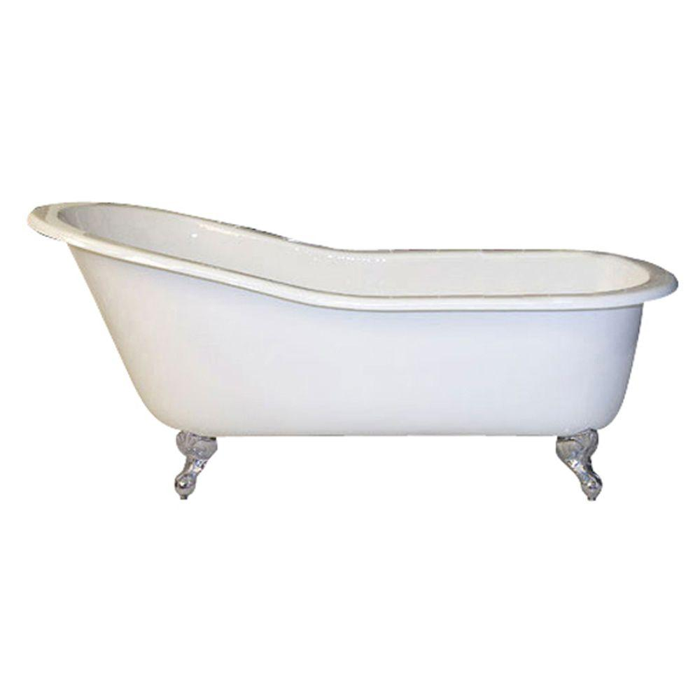 Pegasus 5 Ft Cast Iron Ball And Claw Feet Slipper Tub In White