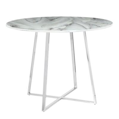 Cosmo Round Dining Table in Chrome with White Marble Top