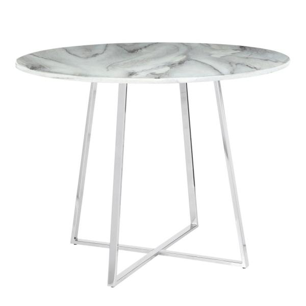 Lumisource Cosmo Round Dining Table In Chrome With White Marble Top Dt Cosmo2 Wmb The Home Depot