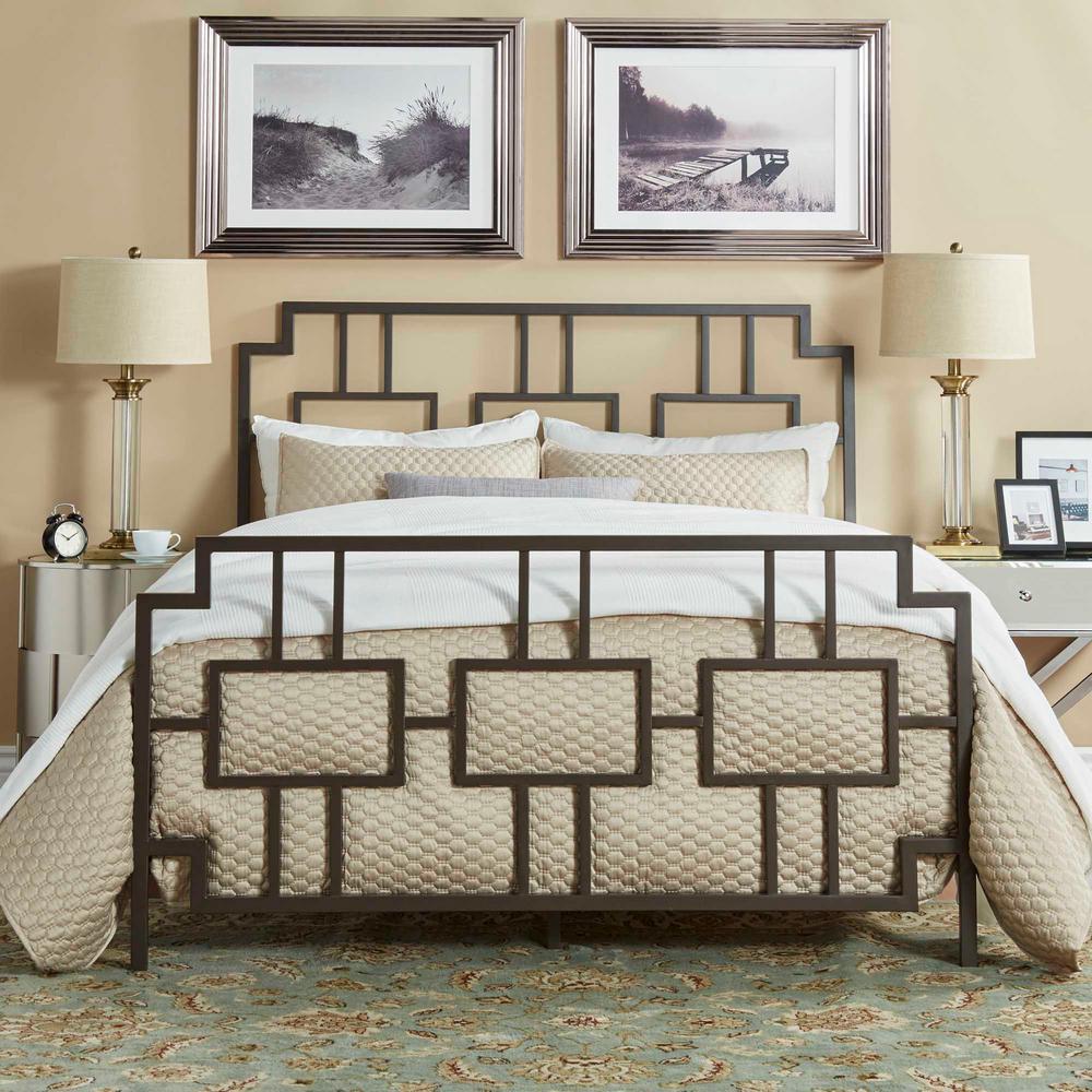 HomeSullivan Letti Bronzed Black Queen Bed Frame-40E432BQ-1DKBED ...