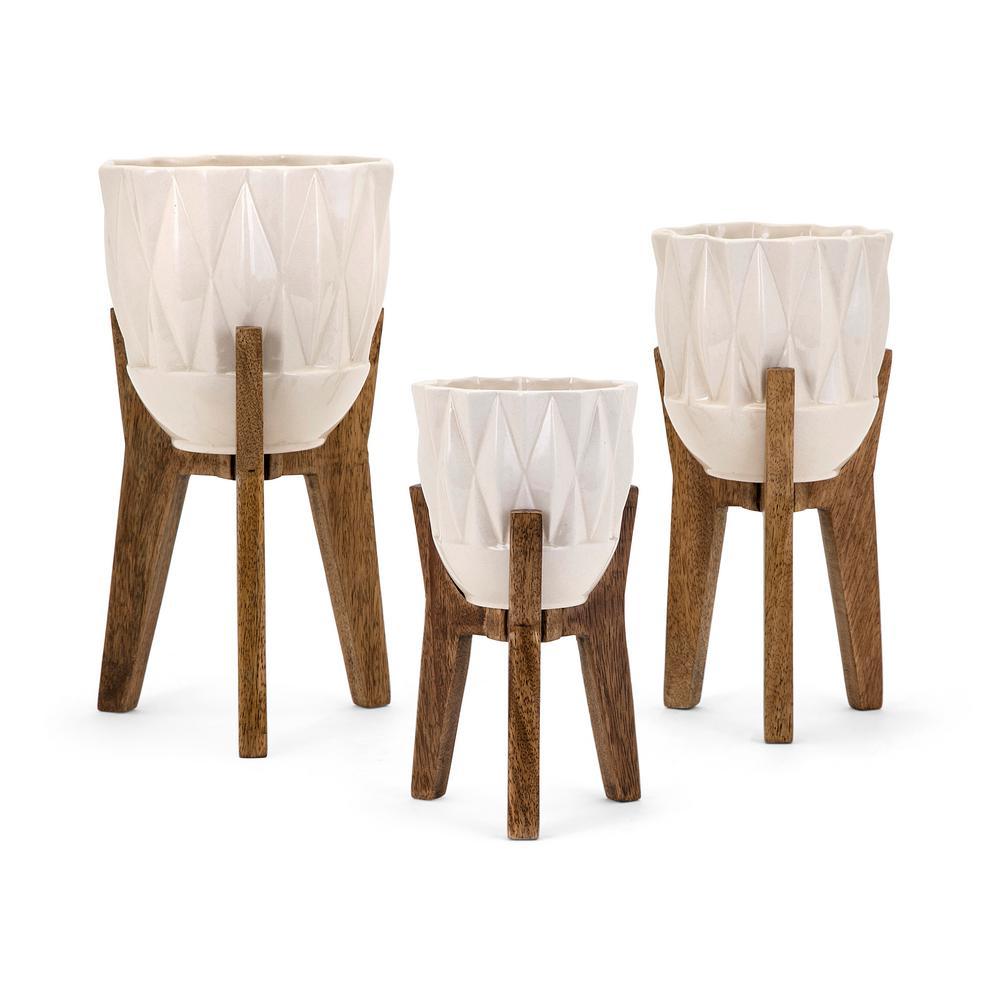 Ella Elaine Amara Vases on Wood Stands (Set of 3)