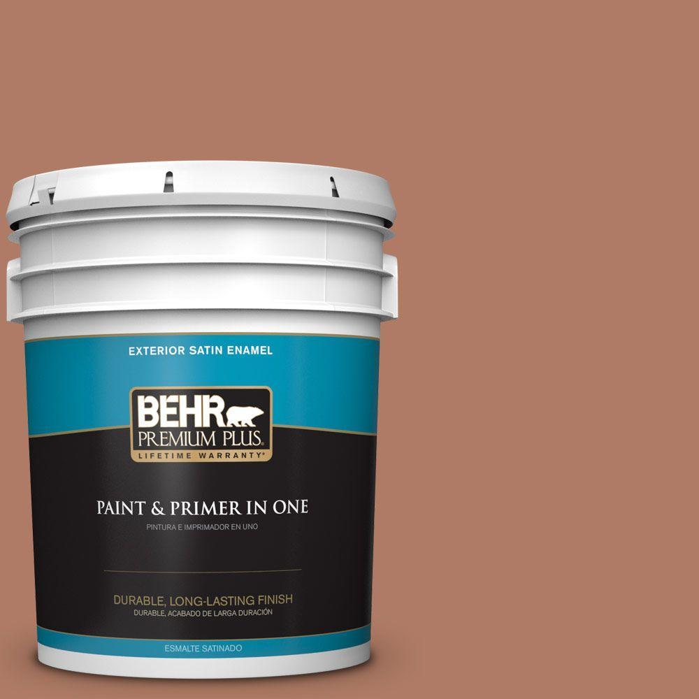 BEHR Premium Plus 5-gal. #PMD-84 Pecan Satin Enamel Exterior Paint