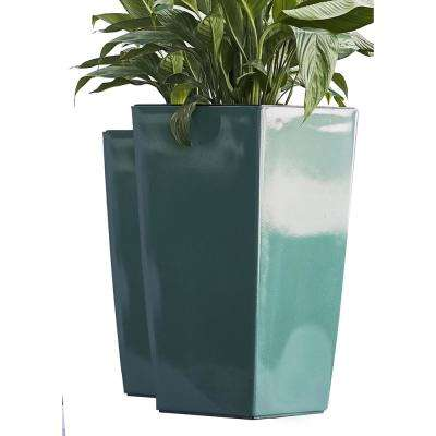 Xbrand 22 in. Tall Turquoise Plastic Nested Self Watering Indoor/Outdoor Square Planter Pot (Set of 2)