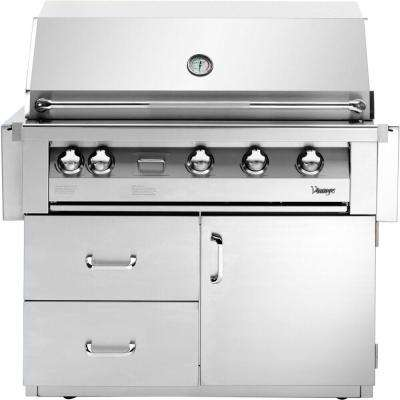 42 in. 4-Burner Natural Gas Grill in Stainless with Deluxe Cart