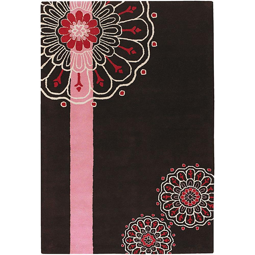 Chandra Dharma Brown/Pink/White/Red 5 ft. x 7 ft. 6 in. Indoor Area Rug