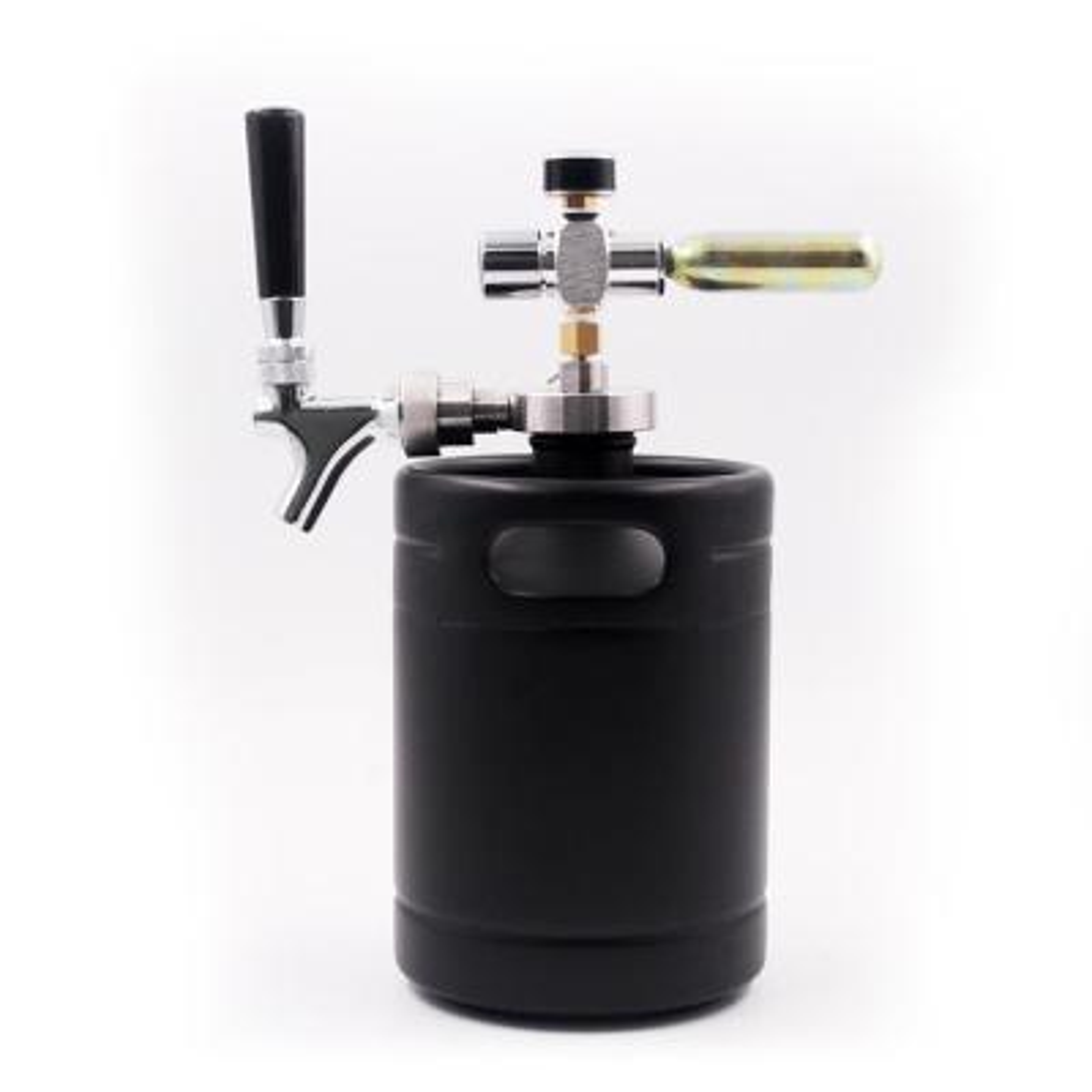 Homebrew Mini Keg Beer Dispenser 64 oz. Black Matte Powder Coating Mini Keg with Cap Spear