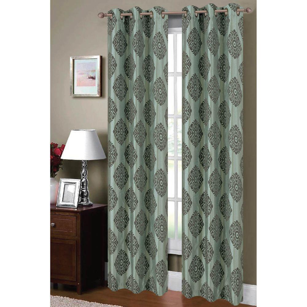 Semi Opaque Suzani Flocked Faux Silk 84 In L Grommet Curtain Panel Pair Aqua Grey Set Of 2
