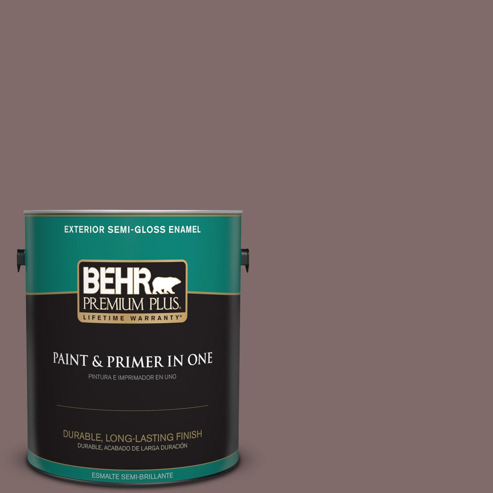 1 gal. #MQ1-41 Autumn Ashes Semi-Gloss Enamel Exterior Paint and Primer