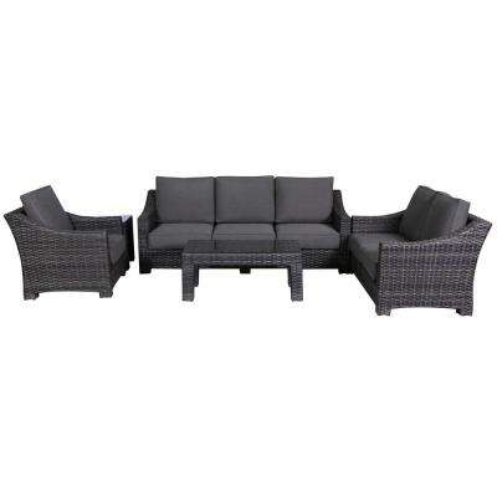 Bora Bora 4-Piece Wicker Patio Deep Seating Set with Olefin Charcoal Grey Cushions