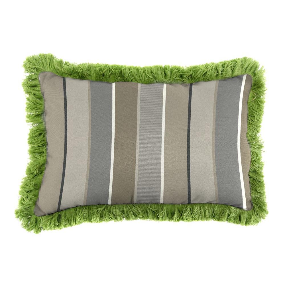Sunbrella 9 in. x 22 in. Milano Charcoal Lumbar Outdoor Pillow with Gingko Fringe