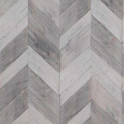 Wood Weathered Herringbone Grey and Black Wallpaper