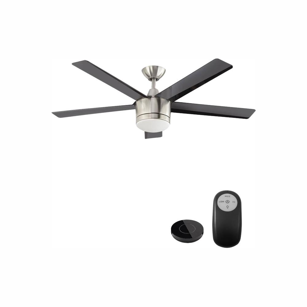 Home Decorators Collection Merwry 52 in. Integrated LED Indoor Brushed Nickel Ceiling Fan with Light Kit Works with Google Assistant and Alexa