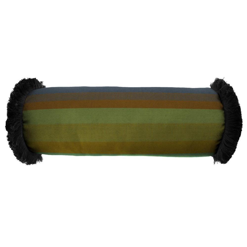 Jordan Manufacturing Sunbrella 7 in. x 20 in. Astoria Lagoon Bolster Outdoor Pillow with Black Fringe