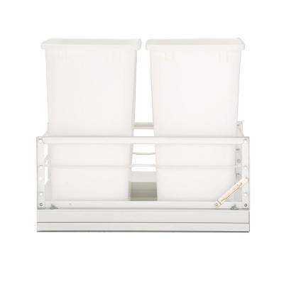 19.25 in. H x 14.81 in. W x 22.13 in. D Double 35 Qt. Pull-Out Brushed Aluminum and White Waste Container