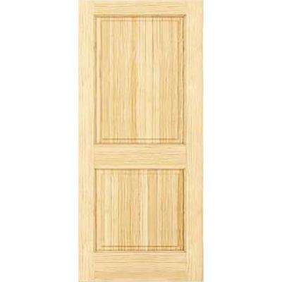 24 in. x 80 in. Unfinished 2-Double Hip Panel Solid Core Wood Interior Door Slab
