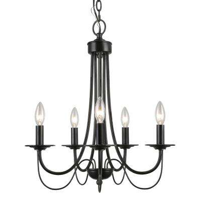 Molnig 5-Light 18 in. Oil Rubbed Black Small Modern Farmhouse Candle Chandelier LED Compatible