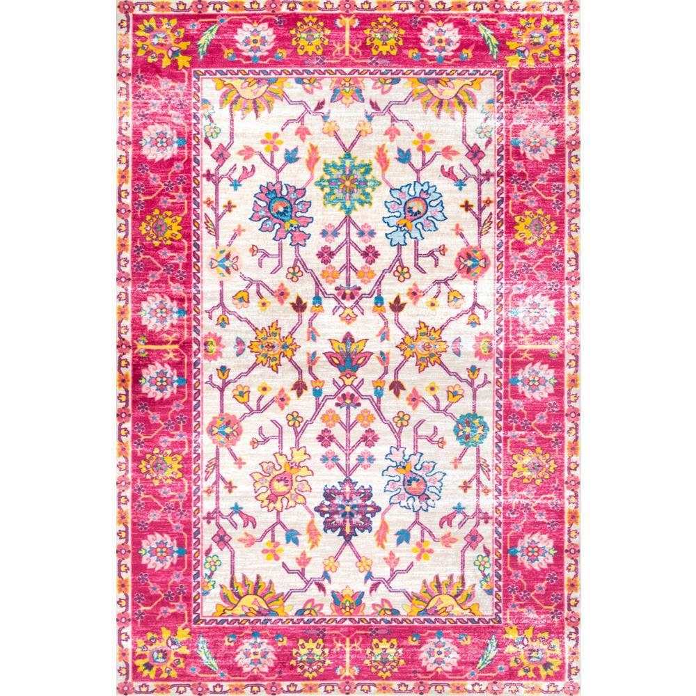 Nuloom Washable Rugs: NuLOOM Vintage Jennine Pink Multi 5 Ft. X 8 Ft. Area Rug