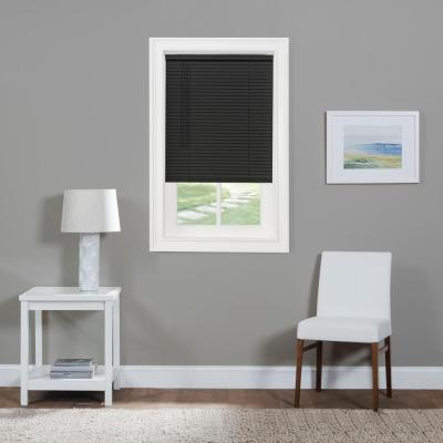 GII Morningstar Black Cordless Light Filtering Vinyl Mini Blind with 1 in. Slats 35 in. W x 64 in. L