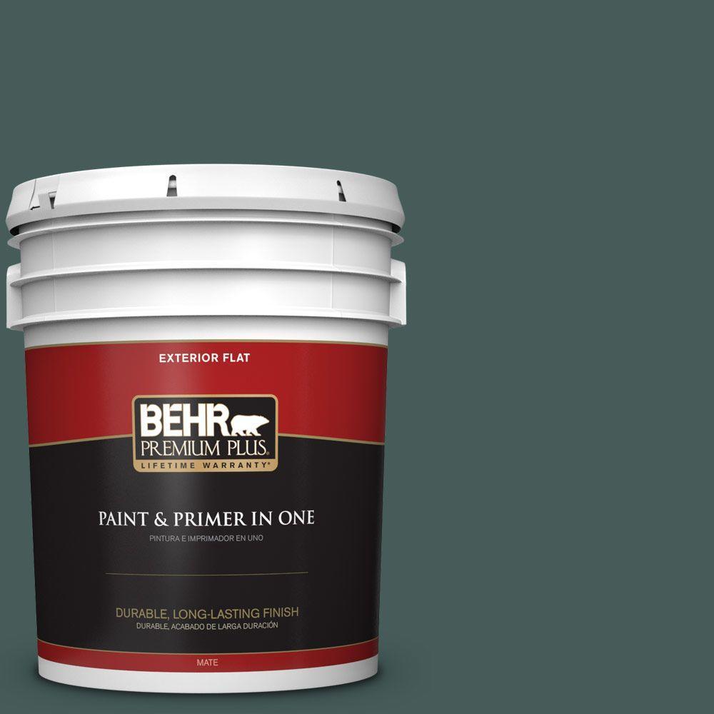 BEHR Premium Plus 5-gal. #490F-7 Jungle Green Flat Exterior Paint
