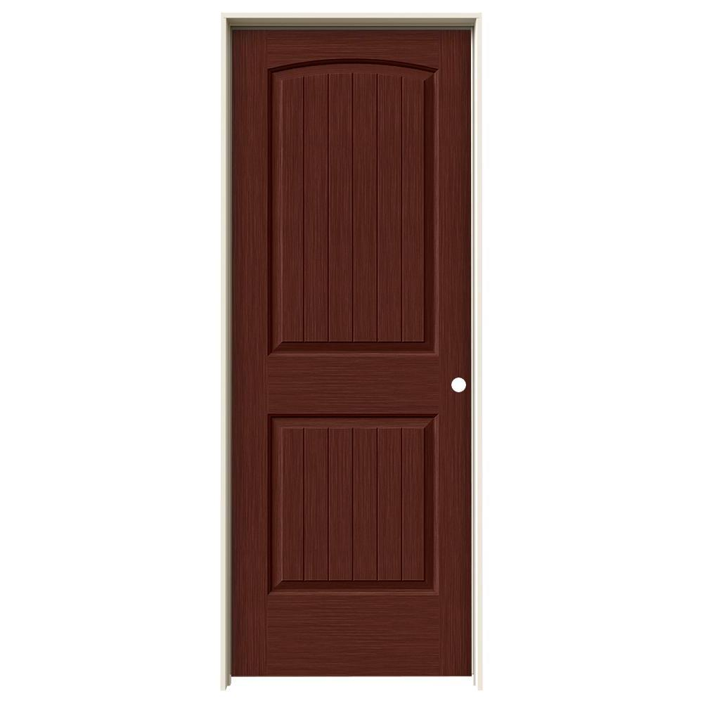 Jeld Wen 30 In X 80 In Santa Fe Black Cherry Stain Left Hand Solid Core Molded Composite Mdf