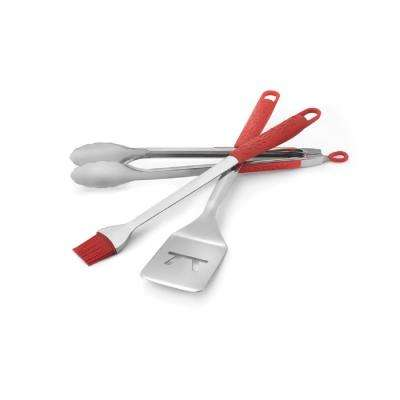 Wildfire Stainless Steel 3-Piece Tool Set Spatula, Tongs and Basting Brush in Red