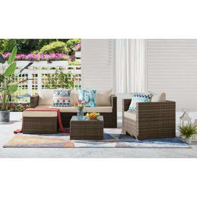 Caribe 4-Piece Wicker Patio Conversation Set with Beige Cushions