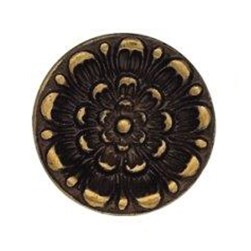0.98 in. Antique Brass Distressed Round Knob