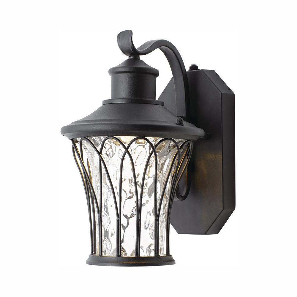 Avia Falls Black Outdoor LED Dusk to Dawn Wall Lantern Sconce