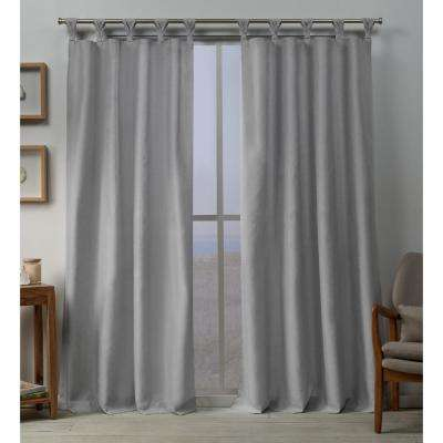 Loha 54 in. W x 96 in. L Linen Blend Braided Tab Top Curtain Panel in Dove Gray (2 Panels)
