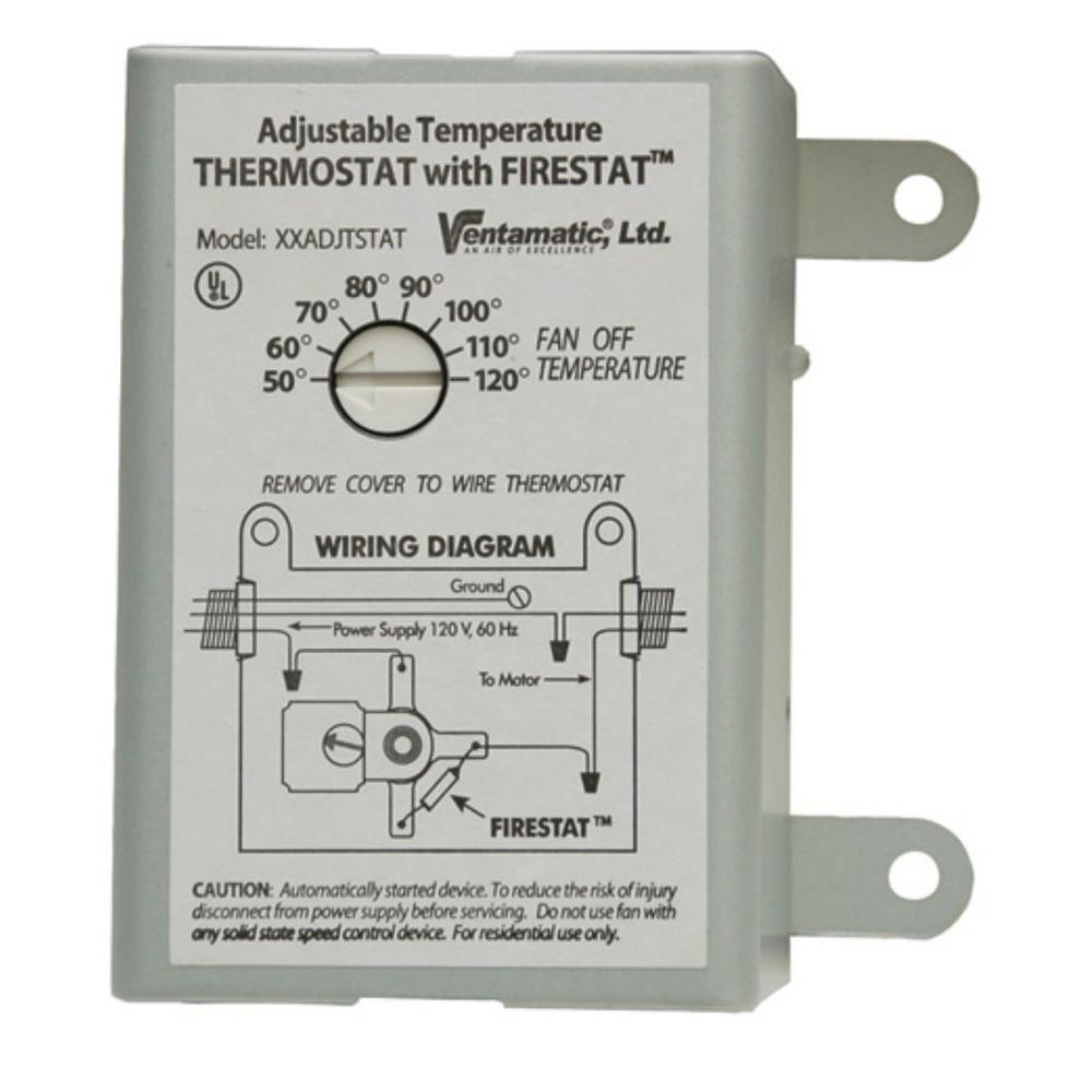 Ventamatic Cool Attic 10-Amp Programmable Thermostat with  Firestat-XXFIRESTAT - The Home DepotThe Home Depot