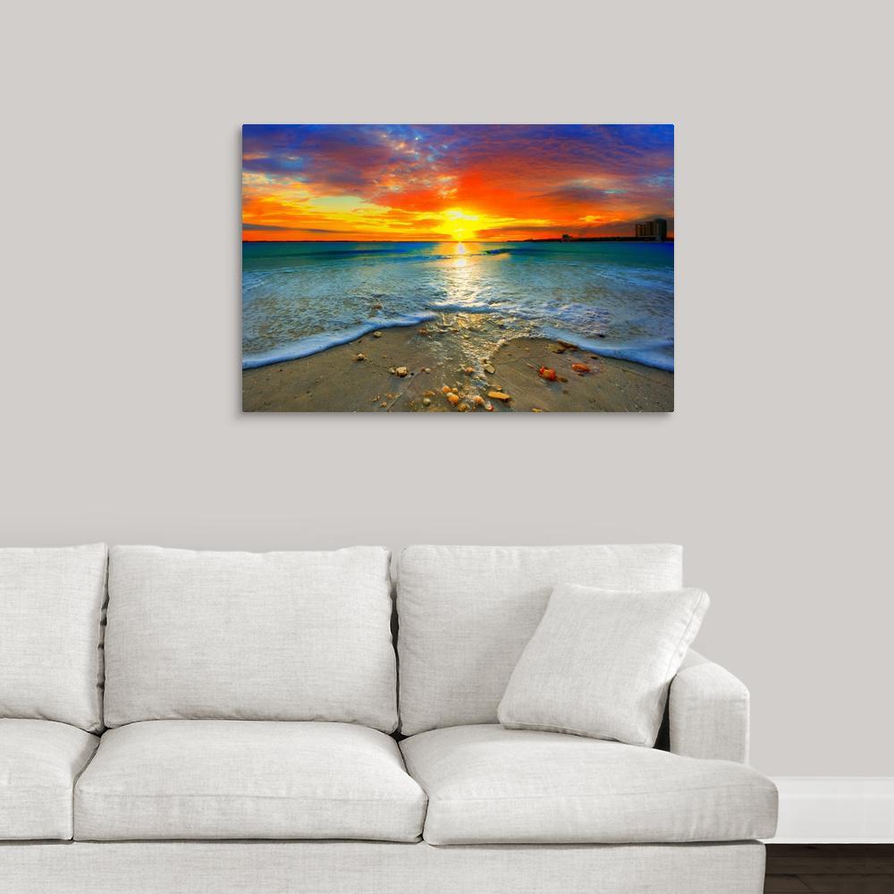 BEAUTIFUL SUNSET OVER WATERFALLS NATURE BOX CANVAS PRINT WALL ART PICTURE
