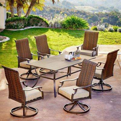 Rhone Valley 7-Piece Wicker Motion Outdoor Dining Set with Tan Cushions