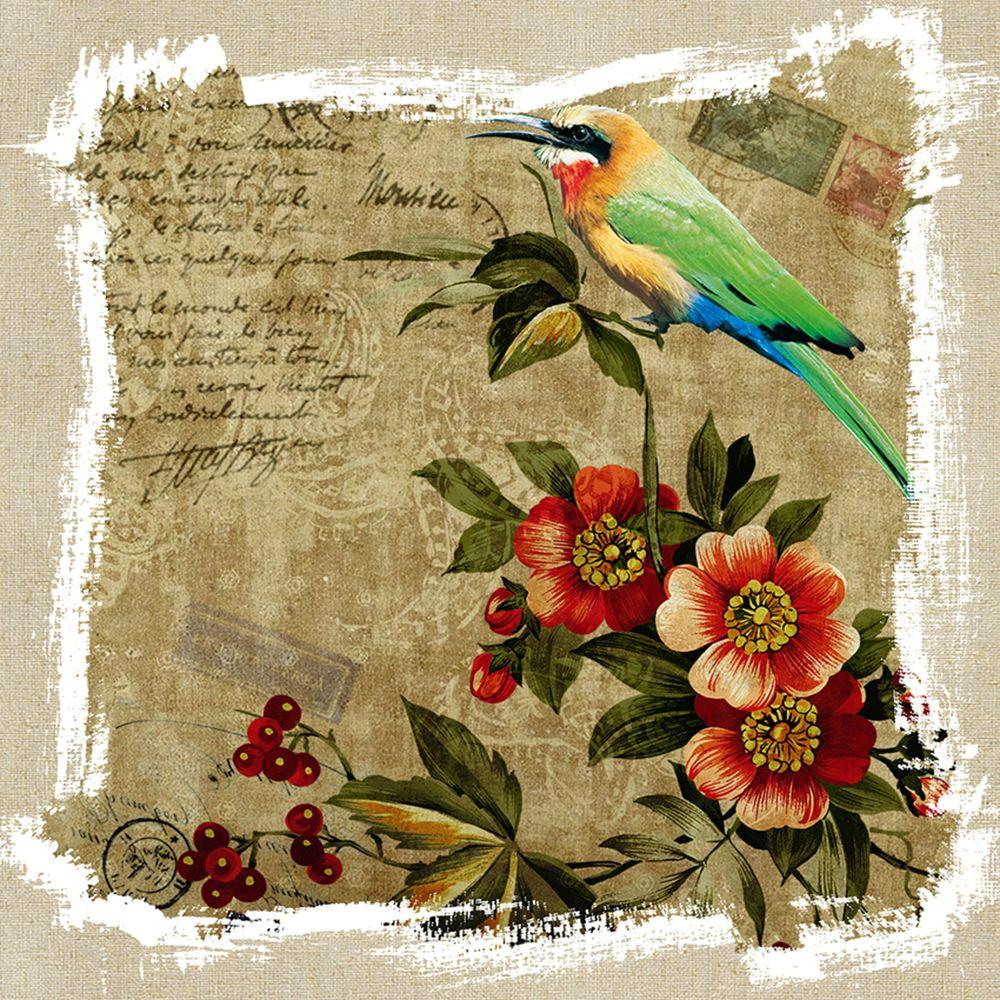 Yosemite Home Decor 16 in. x 16 in. Marigold and Berries Stamp Model Linen Prints Contemporary Artwork