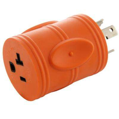 Generator Locking Adapter L5-30P 30A 125V 3-Prong Locking Plug to 5-15/20R 15/20 Amp Household T Blade Female Connector