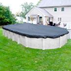 Premium Mesh XL 16 ft. x 32 ft. Oval Blue and Black Mesh Above Ground Winter Pool Cover