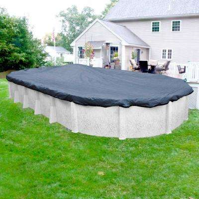 Extreme-Mesh 18 ft. x 33 ft. Oval Blue/Black Winter Pool Cover