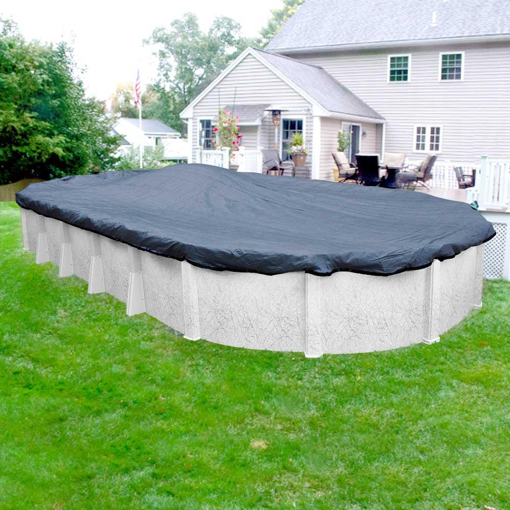 Pool Mate Extreme-Mesh 16 ft. x 32 ft. Oval Blue/Black Winter Pool Cover