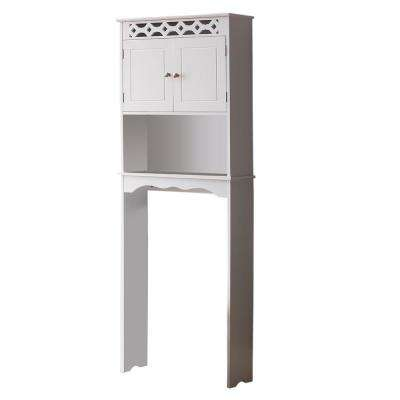 23 in. W x 63 in. H Alberry White Wood Over the Toilet Stand