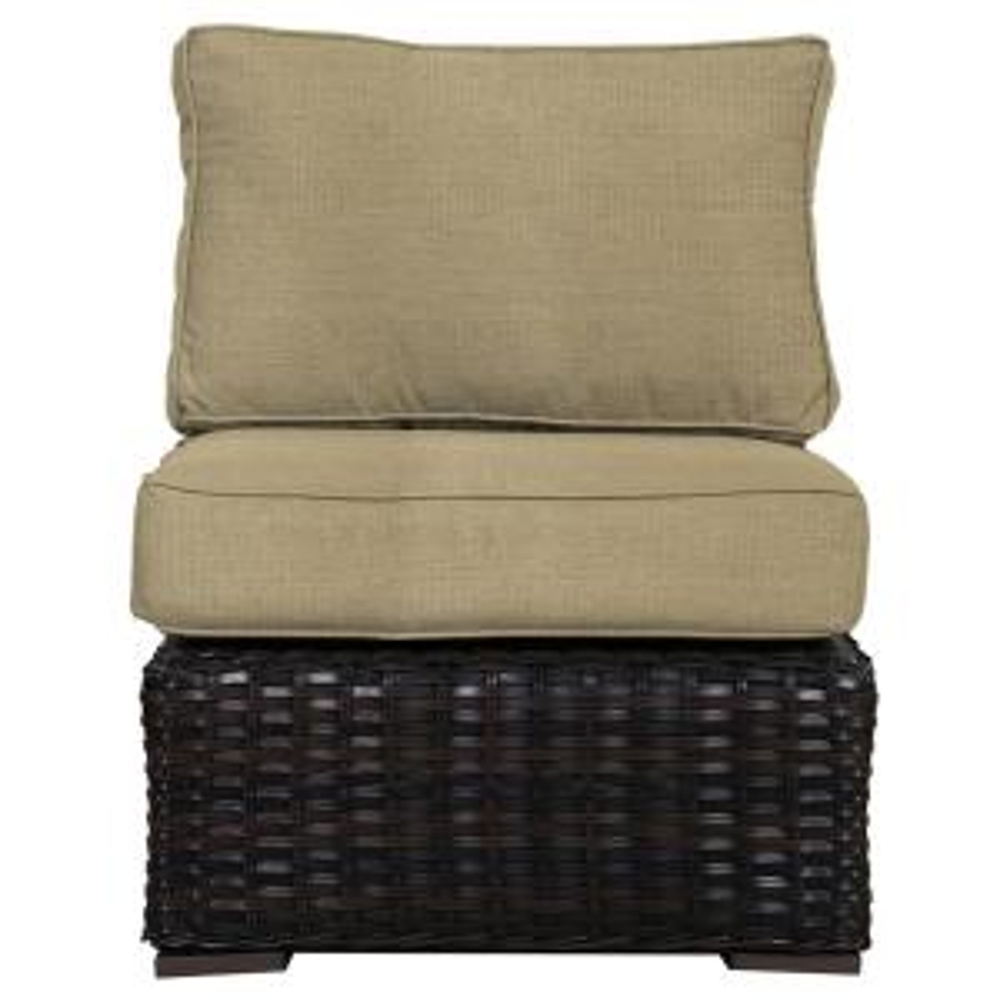 Envelor Santa Monica Patio Wicker Left Arm Outdoor Sectional Chair With Fabric Tan Cushion En T Smlestan The Home Depot