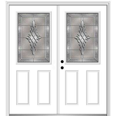 64 in. x 80 in. Grace Right-Hand Inswing 1/2-Lite 2-Panel Decorative Primed Steel Prehung Front Door on 4-9/16 in. Frame