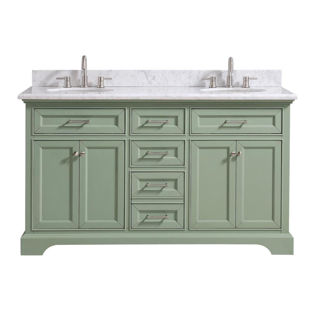 Home Decorators Collection Windlowe 61 In W X 22 In D X 35 In H Bath Vanity In Green With Carrera Marble Vanity Top In White With White Sink