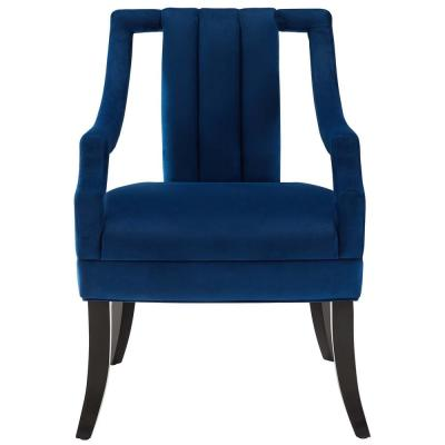 Harken Navy Performance Velvet Accent Chair