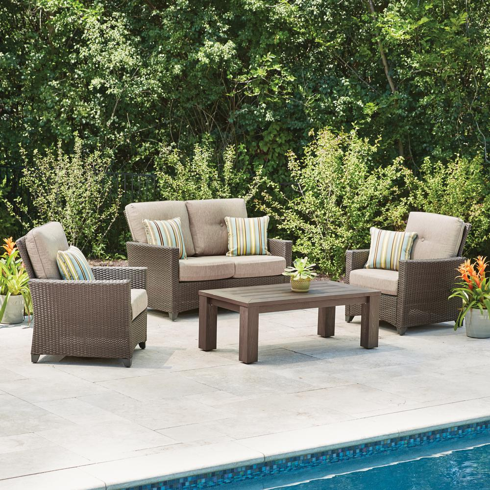 Genial Hampton Bay Tacana 4 Piece Wicker Patio Deep Seating Set With Beige Cushions