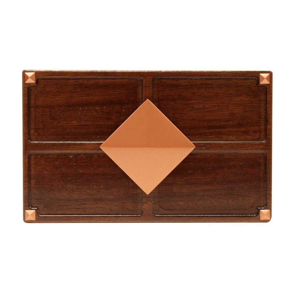 Wireless or Wired Door Bell, Medium Red Oak Wood with Diamond