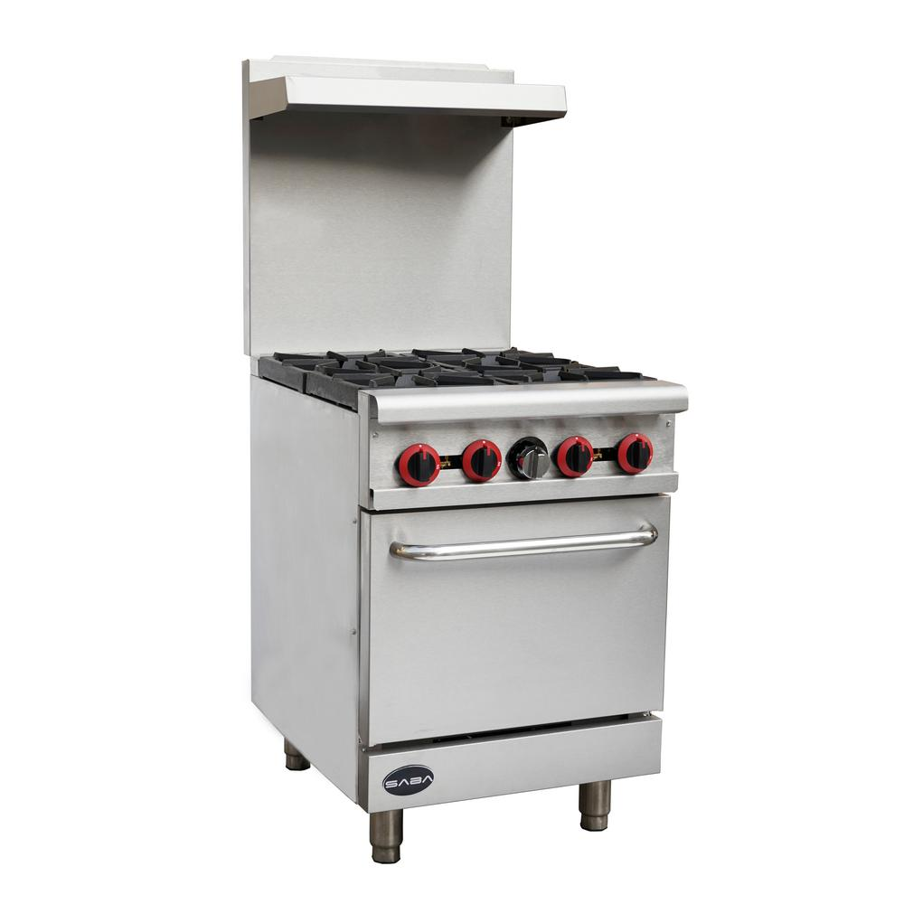 90037297c4c 24 in. 2.9 cu. ft. Commercial 4 Burner Gas Range with Oven in Stainless  Steel