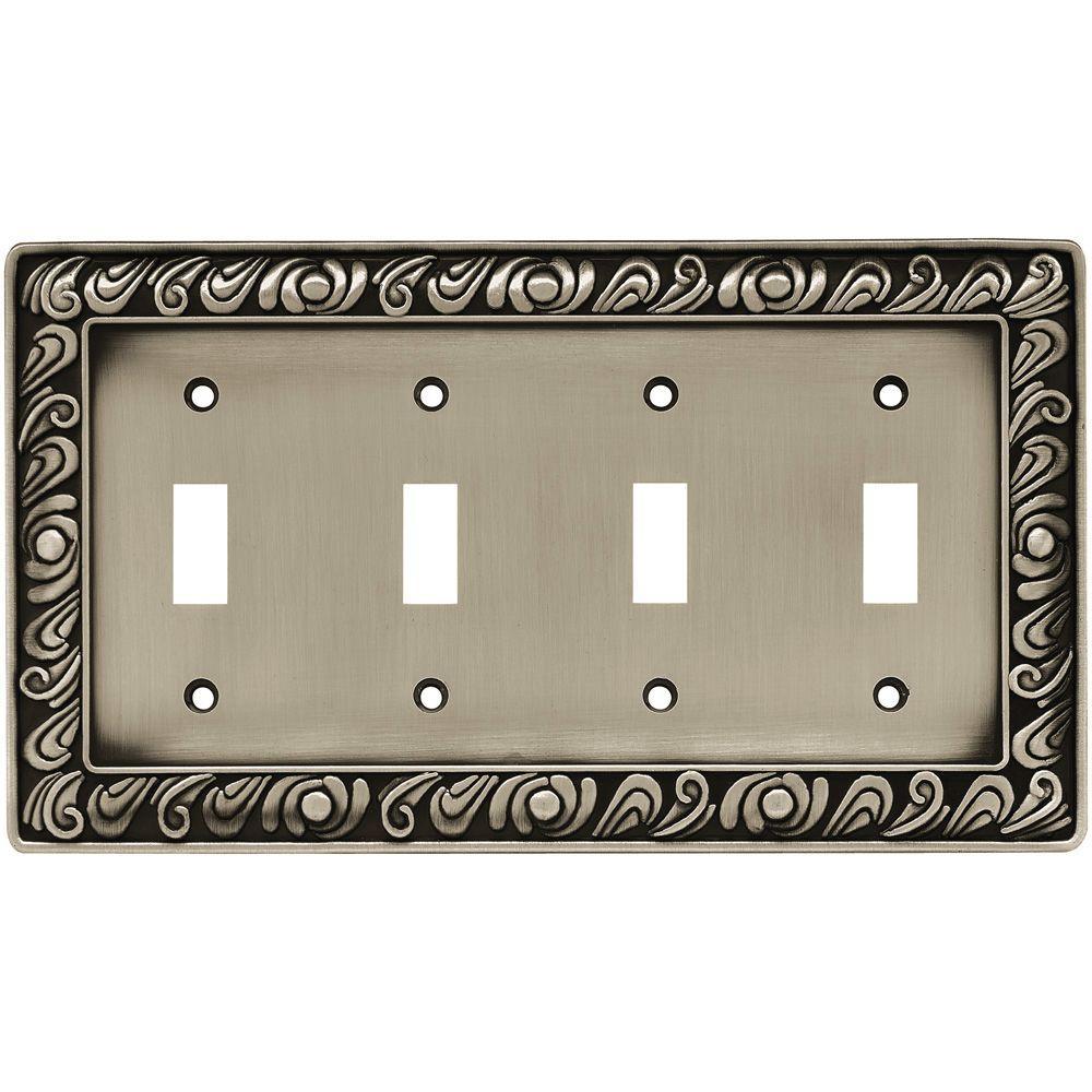 Paisley Decorative Quadruple Switch Plate, Brushed Satin Pewter