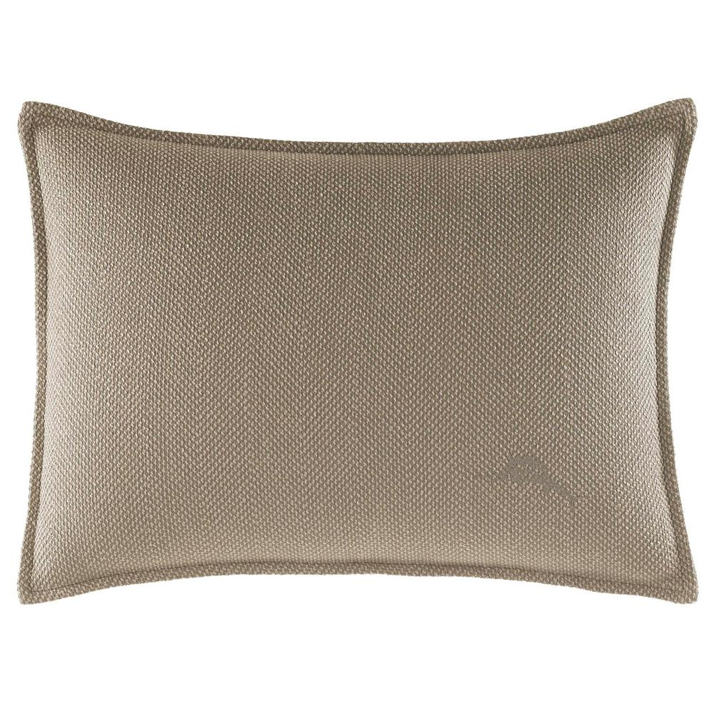 Raffia Palms Textured Herringbone Weave 12 in. x 16 in. Throw Pillows, Brown Put a classic accent on any setting with the textured herringbone weave and cool khaki tone of this stylish Raffia Palms decorative pillow. Tommy Bahama's signature marlin at the front takes the look to a whole new level. Pillow is machine washable and features an envelope closure. Pillow (12 in. x 16 in.). Color: Brown.