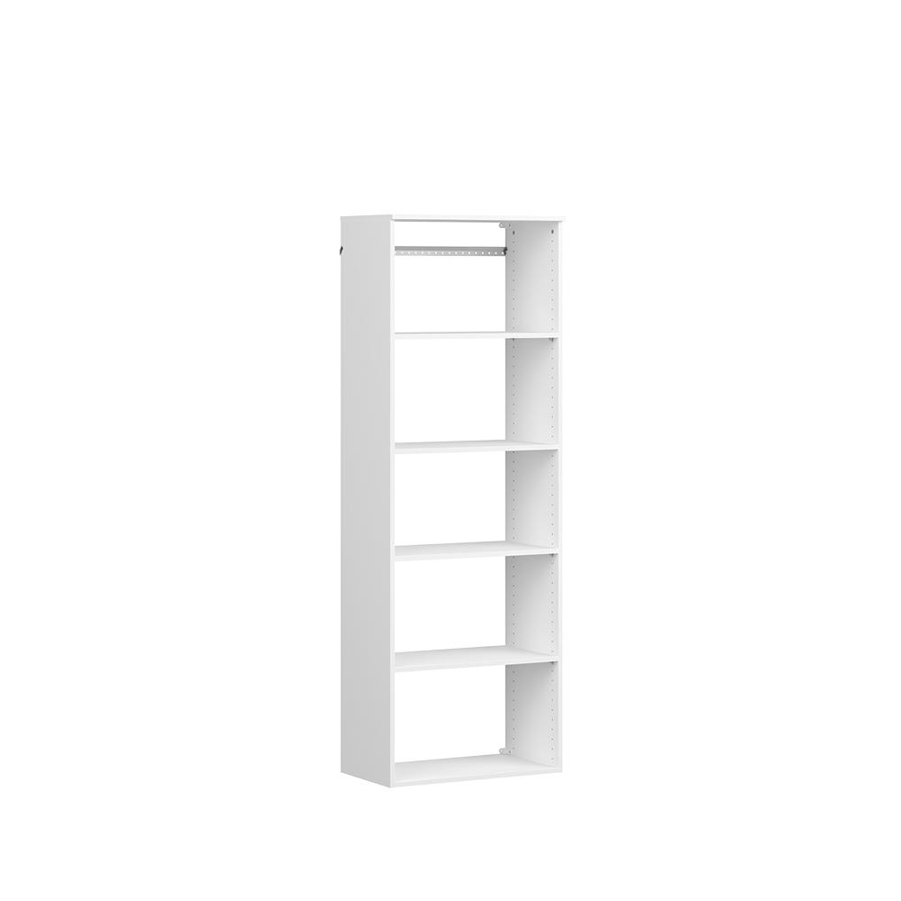 ClosetMaid Style+ 14.59 in. D x 25.12 in. W x 71.6 in. H White Hanging 6-Shelves Wood Closet System