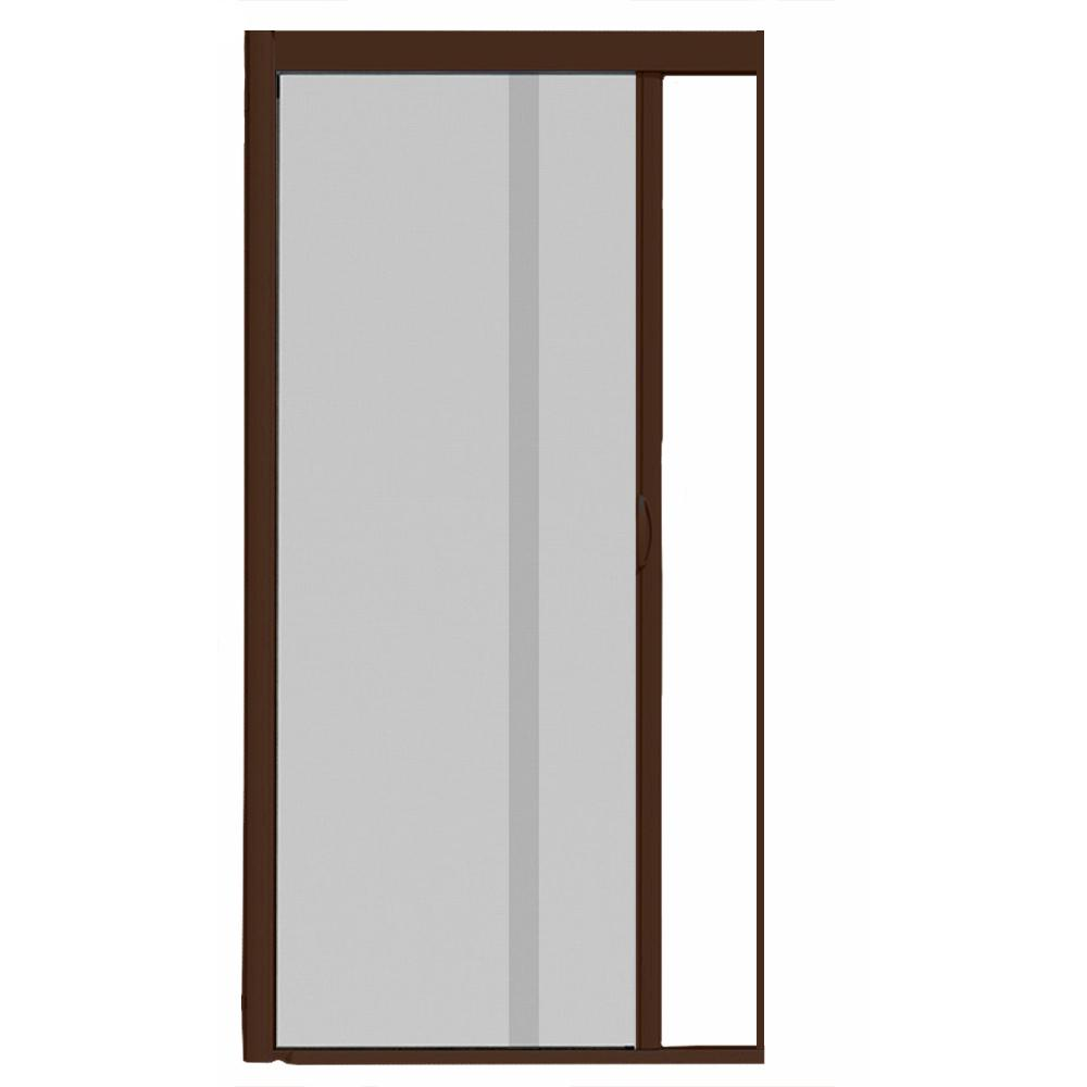44 in. x 84 in. VS1 Brownstone Retractable Screen Door, Single