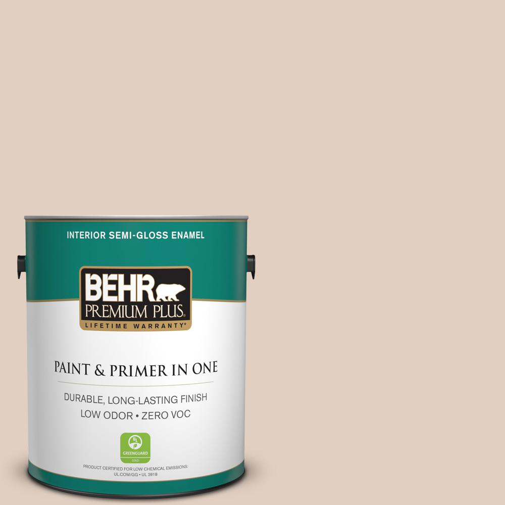 BEHR Premium Plus 1-gal. #N240-2 Adobe Sand Semi-Gloss Enamel Interior Paint